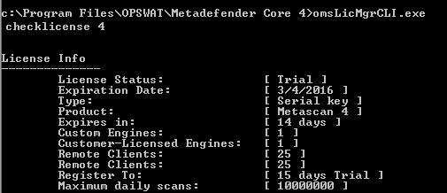 Online License Activation By Management Console - MetaDefender Core