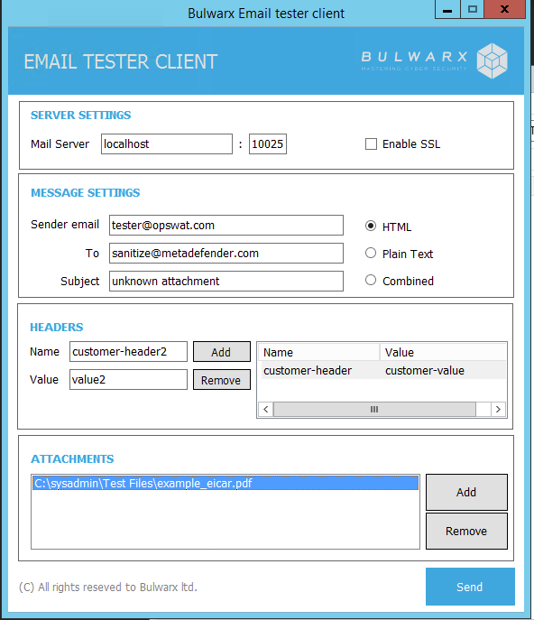 Testing Tool For Sending Email - MetaDefender Email